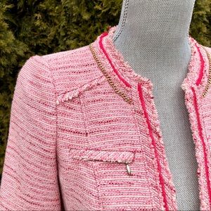 Pink tweed jacket with gold chain details